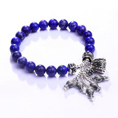 KarmaShine- Bracelet-Lotus Flower-925 Sterling Silver-8mm Blue Lapis Lazulie Beads