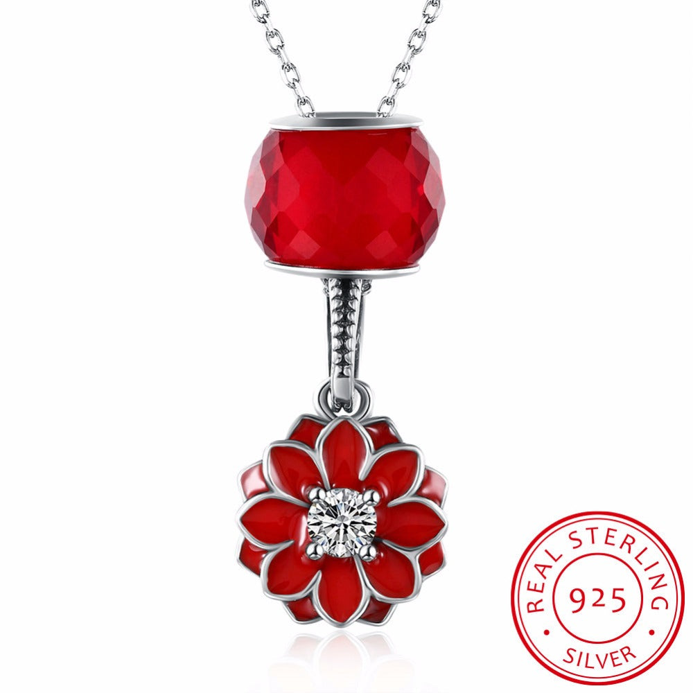 KarmaShine- Necklace Pendant-Lotus Flower-925 Sterling Silver-Cubic Zirconia