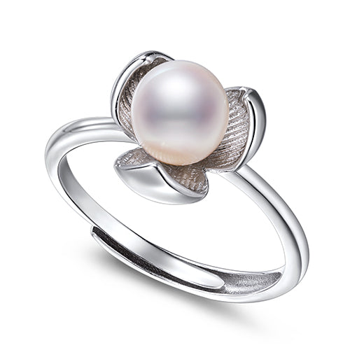 KarmaShine- Ring-Lotus Flower-925 Sterling Silver-7mm Water Drop White Freshwater Pearl-Adjustable