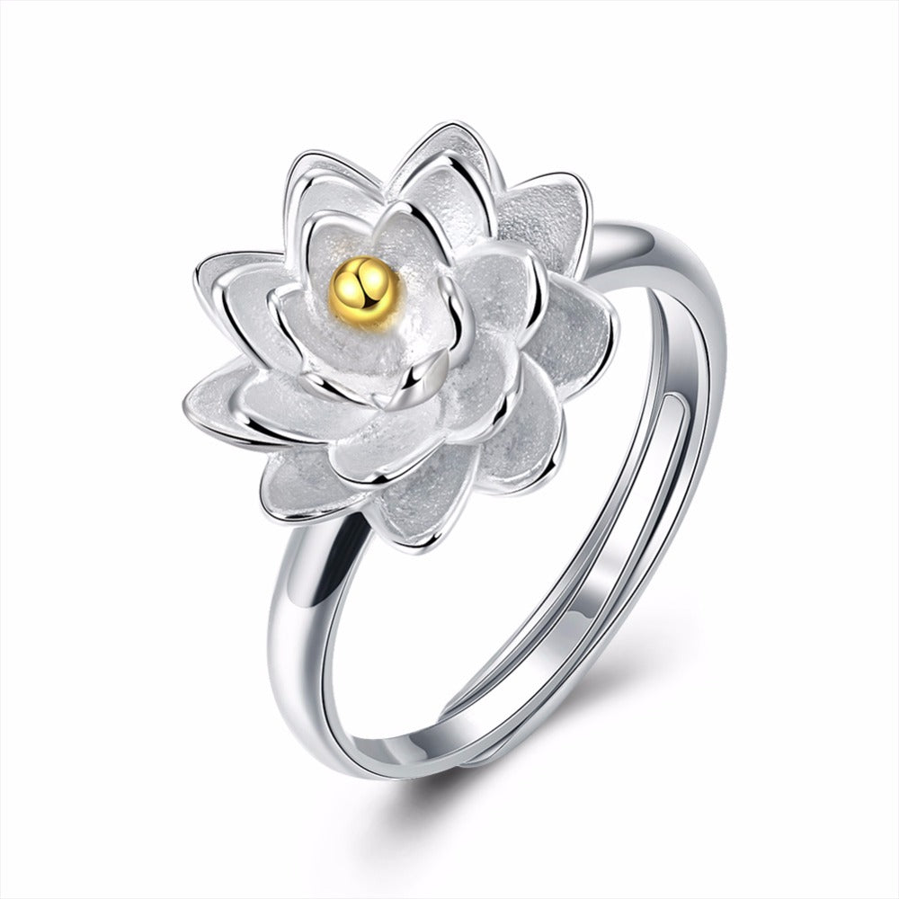 KarmaShine- Ring-Lotus Flower-Gold Plating-925 Sterling Silver-Adjustable
