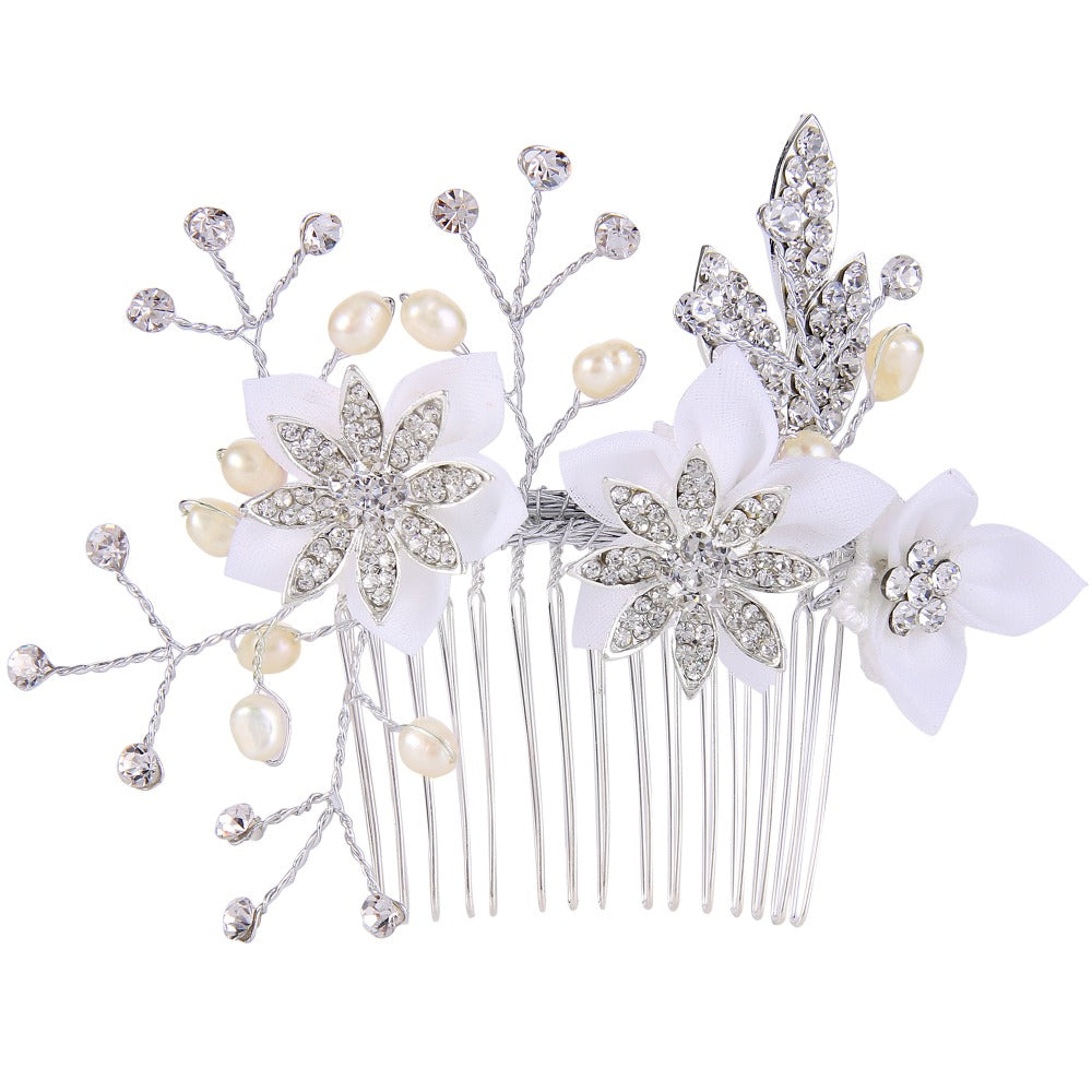 KarmaShine- Hair Comb-Lotus Flower-Simulated Pearl