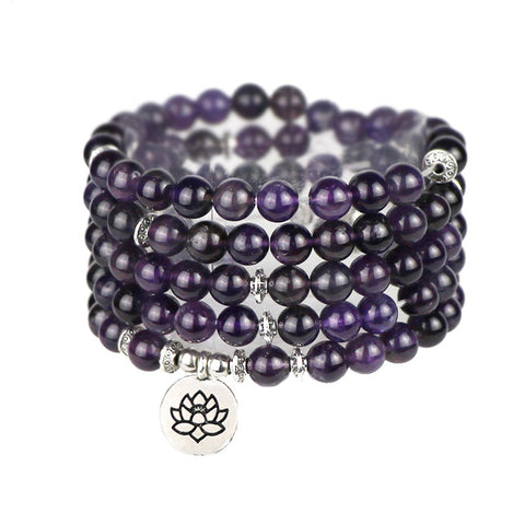 KarmaShine- Bracelet-Necklace-Lotus Flower-Purple Natural Amethyst Stone-108 Mala Beads