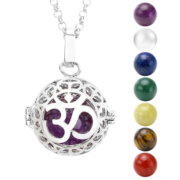 KarmaShine- Necklace-Om-Locket Pendant-Chakra Stones