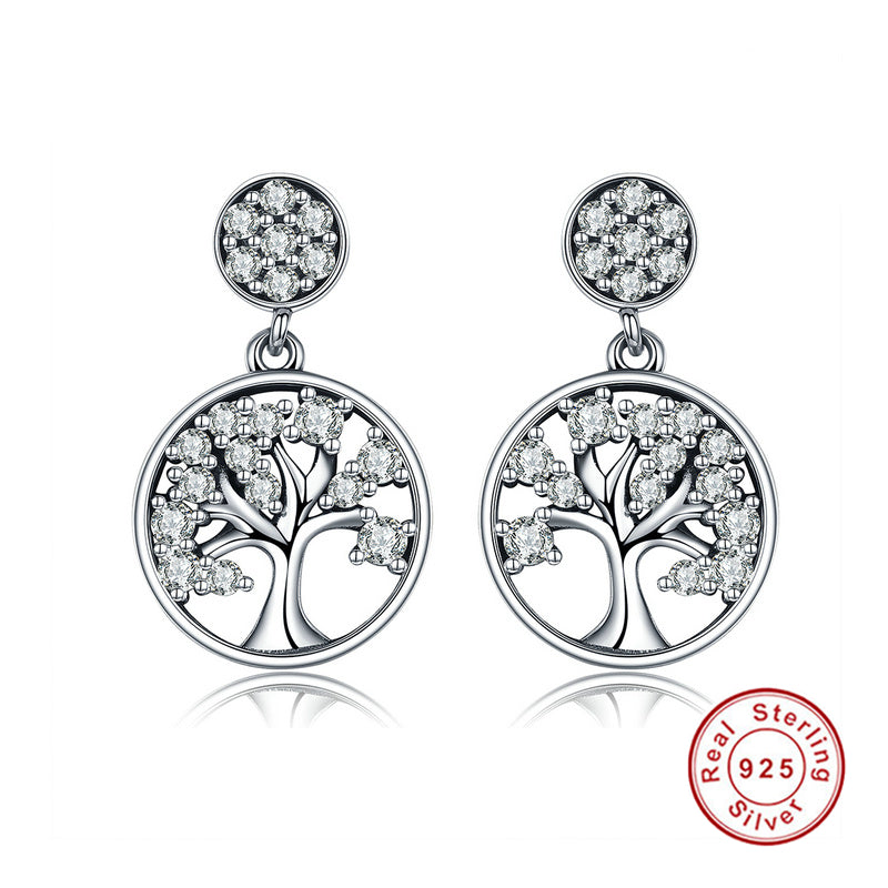 KarmaShine- Earrings-Tree of Life-925 Sterling Silver-Cubic Zirconia