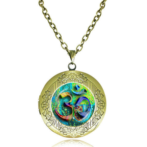 KarmaShine- Necklace-Om-Glass Dome Pendant-Link Chain