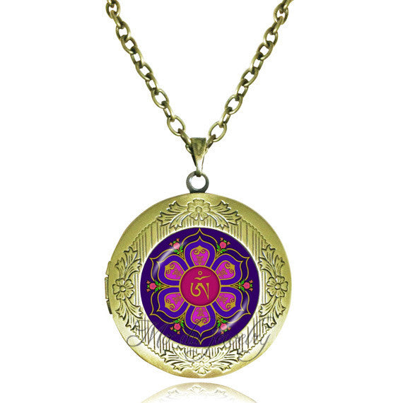 KarmaShine- Necklace-Om-Lotus Flower-Glass Dome Pendant-Link Chain