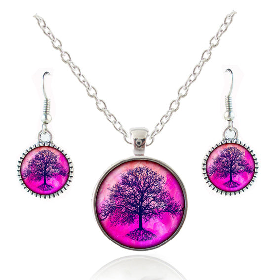 KarmaShine- Necklace Earrings-Tree of Life-Glass Cabochon