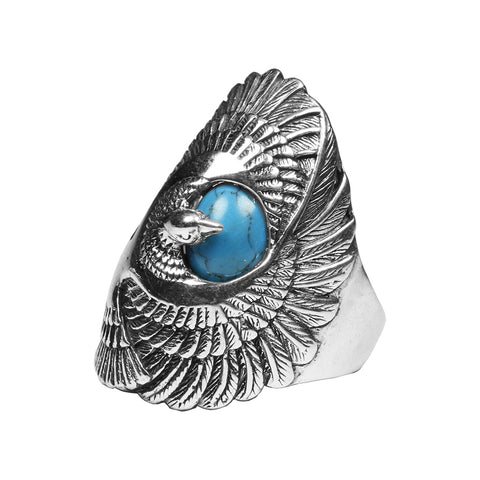 KarmaShine- Ring-Isis Goddess-925 Sterling Silver-Blue Turquoise-4 sizes