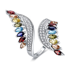 KarmaShine- Ring-Isis Goddess-Marquise Cut Multi-Color CZ-925 Sterling Silver-Ring Size 6-9