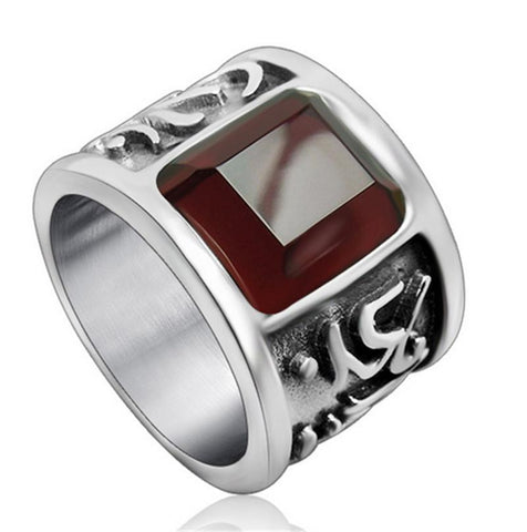 KarmaShine- Ring-Om-Titanium-Red Stone-7 Sizes