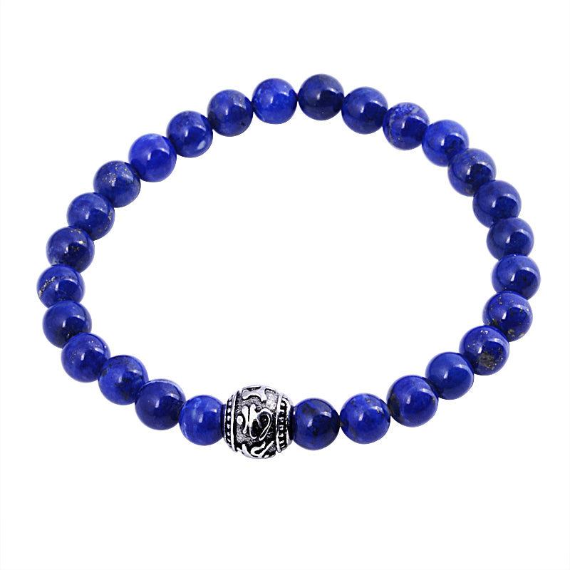 Bracelet-Om-Natural Lapis Lazuli Beads-925 Sterling Silver Ball-2 Sizes - KarmaCraze