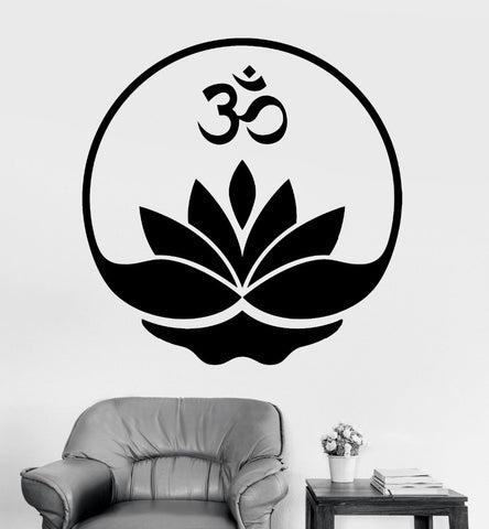 Home Wall Sticker-Om-Lotus Flower-Removable-Home Decor-3 Colors-2 Sizes - KarmaCraze