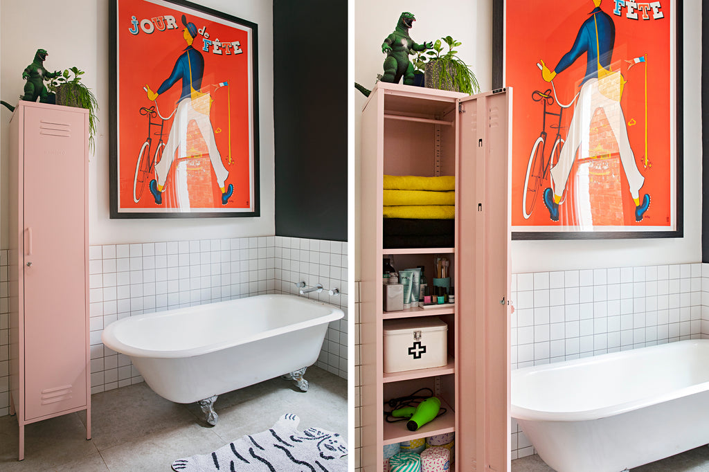 style your locker- mustard made skinny in the bathroom with Natalie Jeffcott