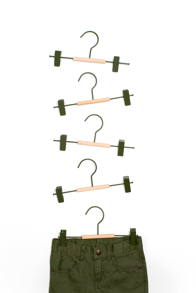 Kids Clip Hangers in Olive - Mustard Made Australia