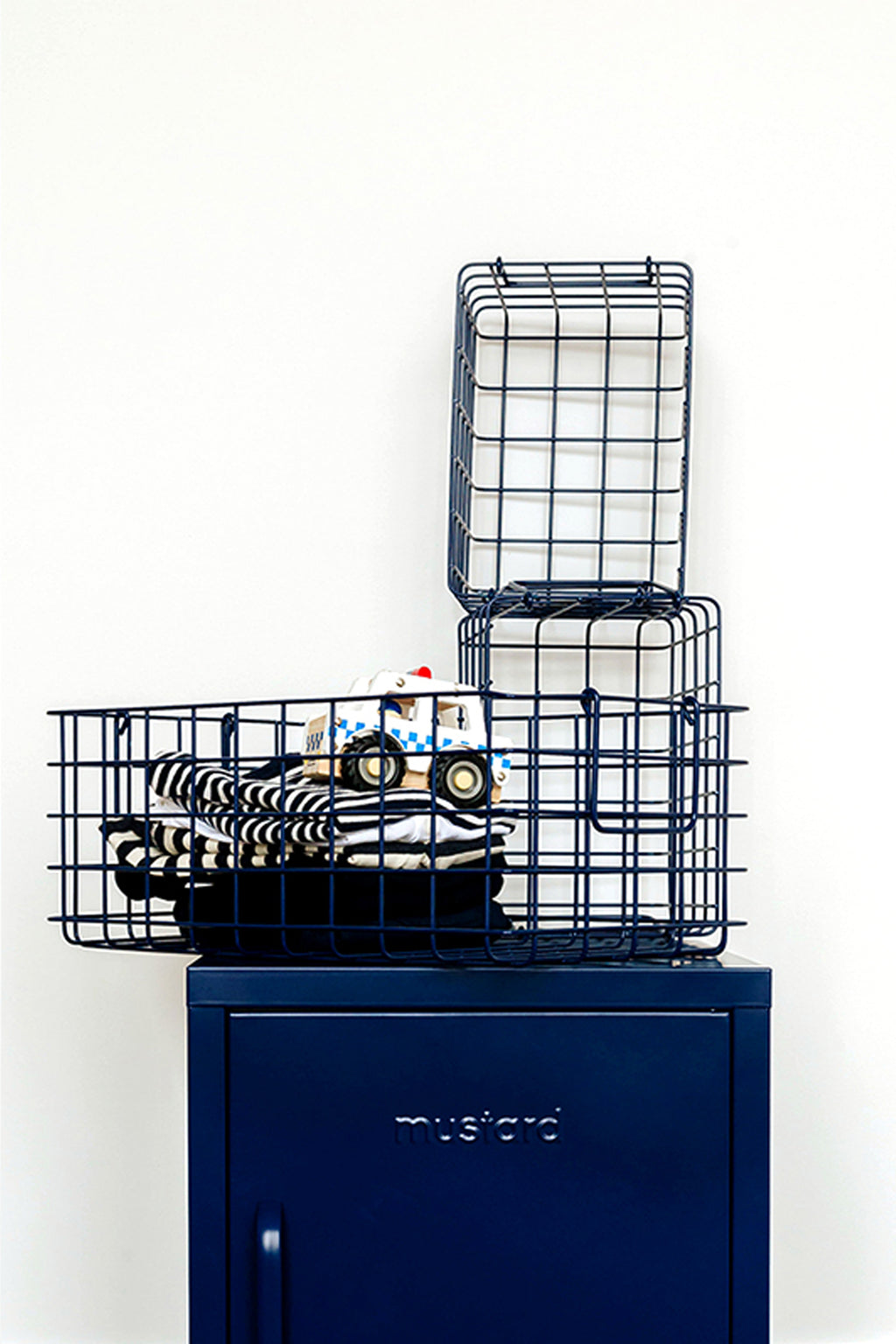 The Baskets in Navy - Mustard