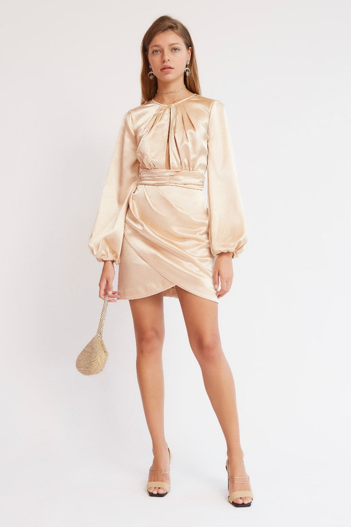 Finders Keepers - Lucinda mini dress - Oyster/Beige - sample