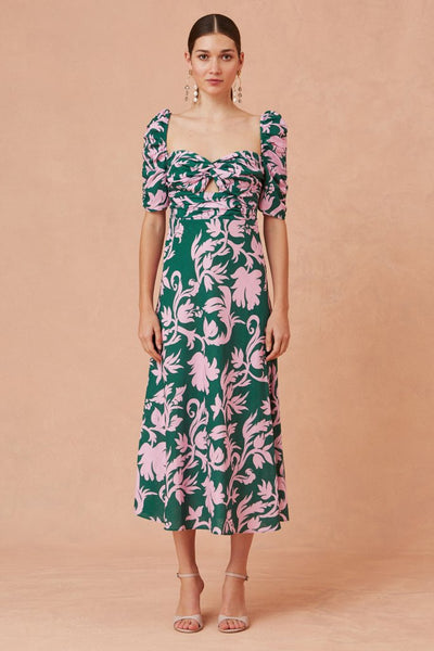 Keepsake The Label - Wistful Midi Dress - jade baroque