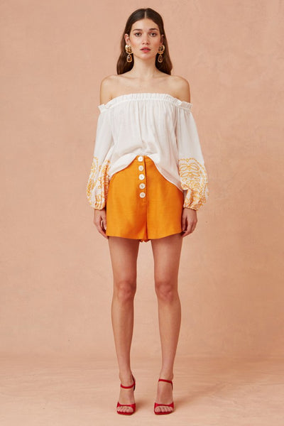 Keepsake The Label - Without Me Long Sleeve Top - porcelaine with orange