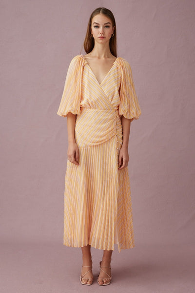 Keepsake The Label - Cupid L/S Midi Dress - Yellow Stripe - Sample
