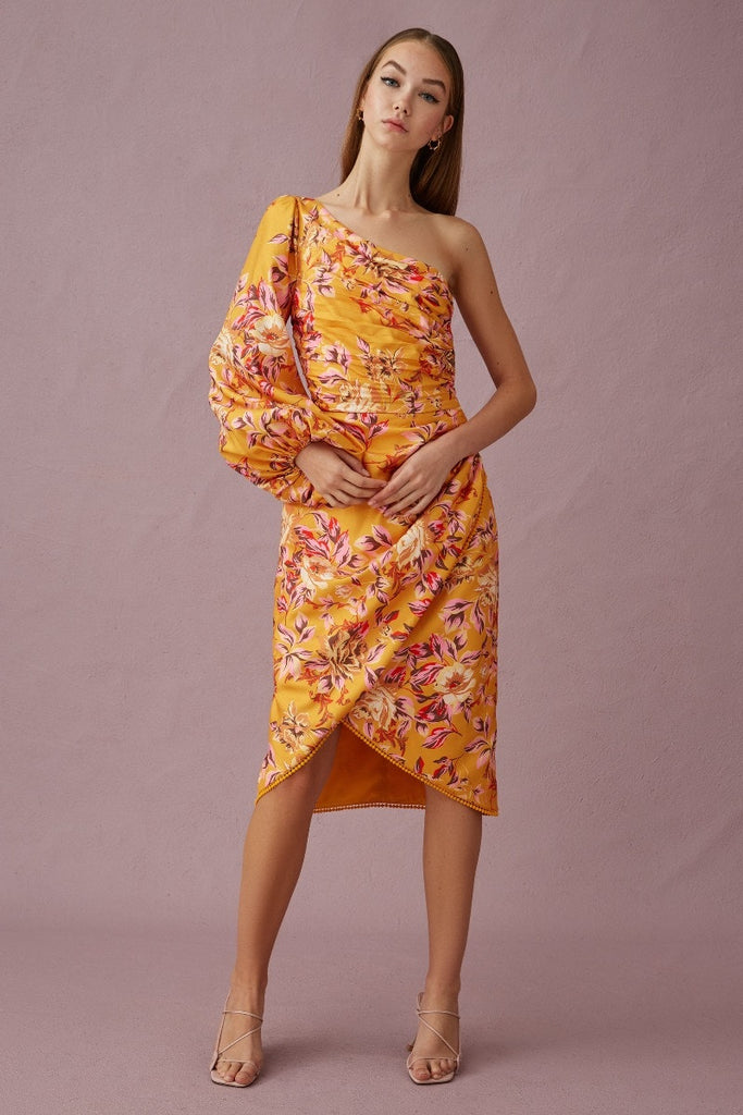 Keepsake The Label - Real Love Midi Dress - Mustard rosebush - sample