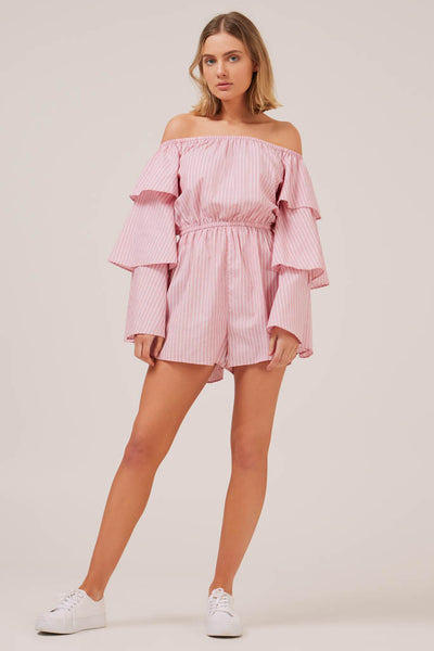 The Fifth Label - Devotion Stripe Long Sleeve Playsuit