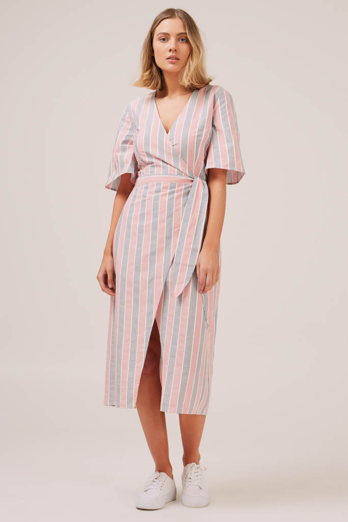 The Fifth Label - With Me Stripe Wrap Dress