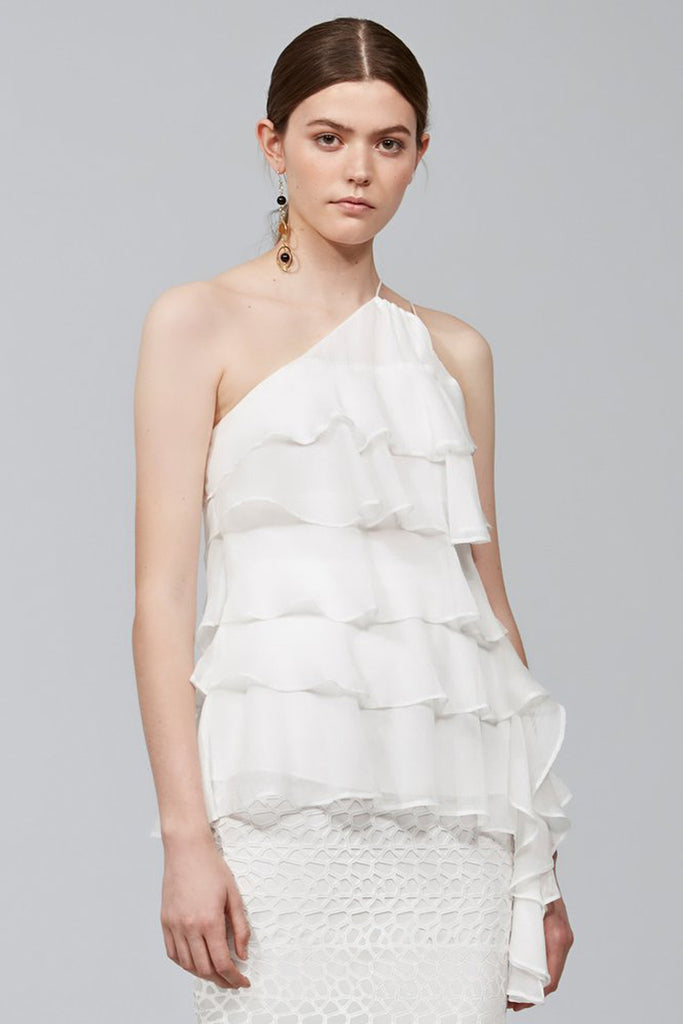 model wearing white Keepsake The Label frill top