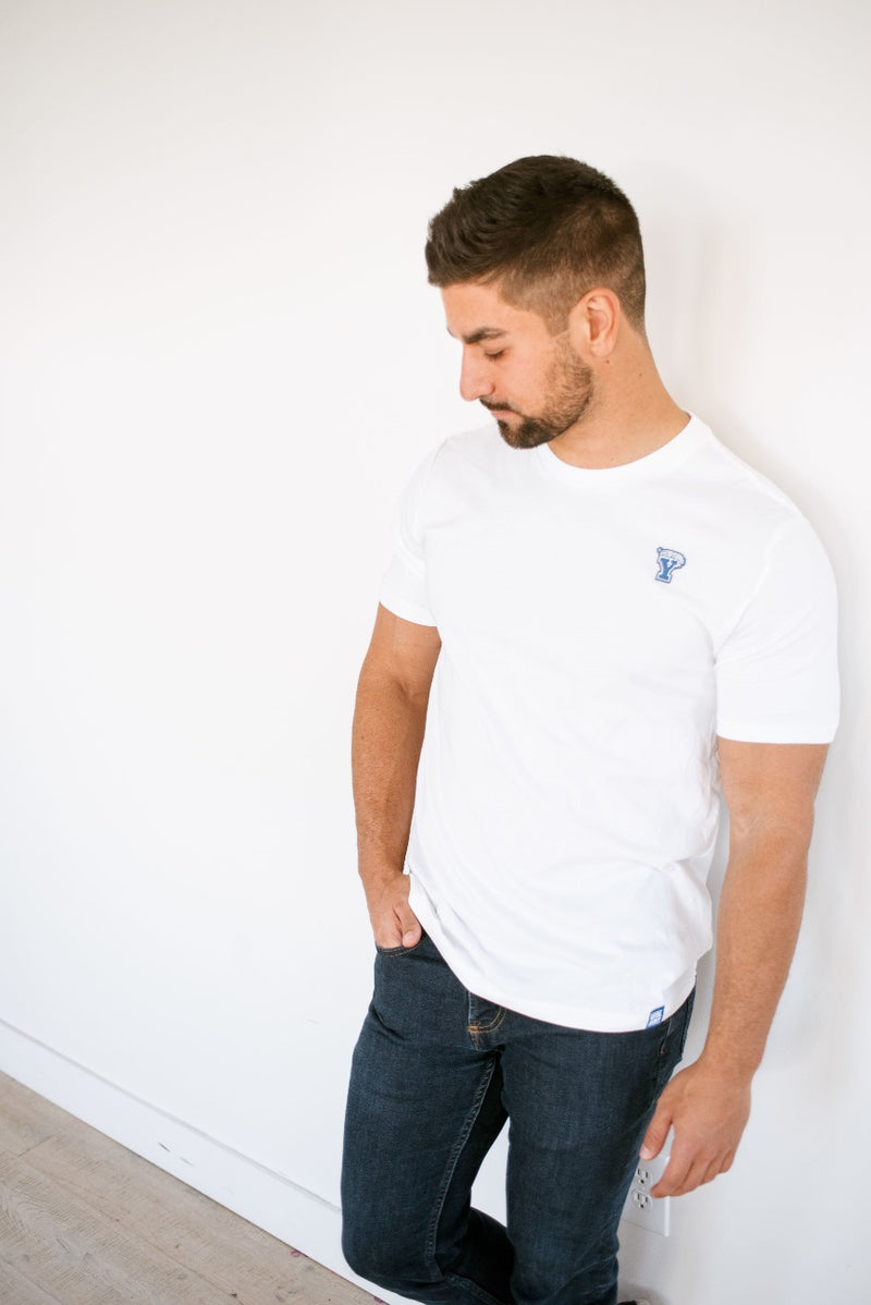 Premium Cotton T-Shirt with Vintage Mini Block Y and Cougar Patch