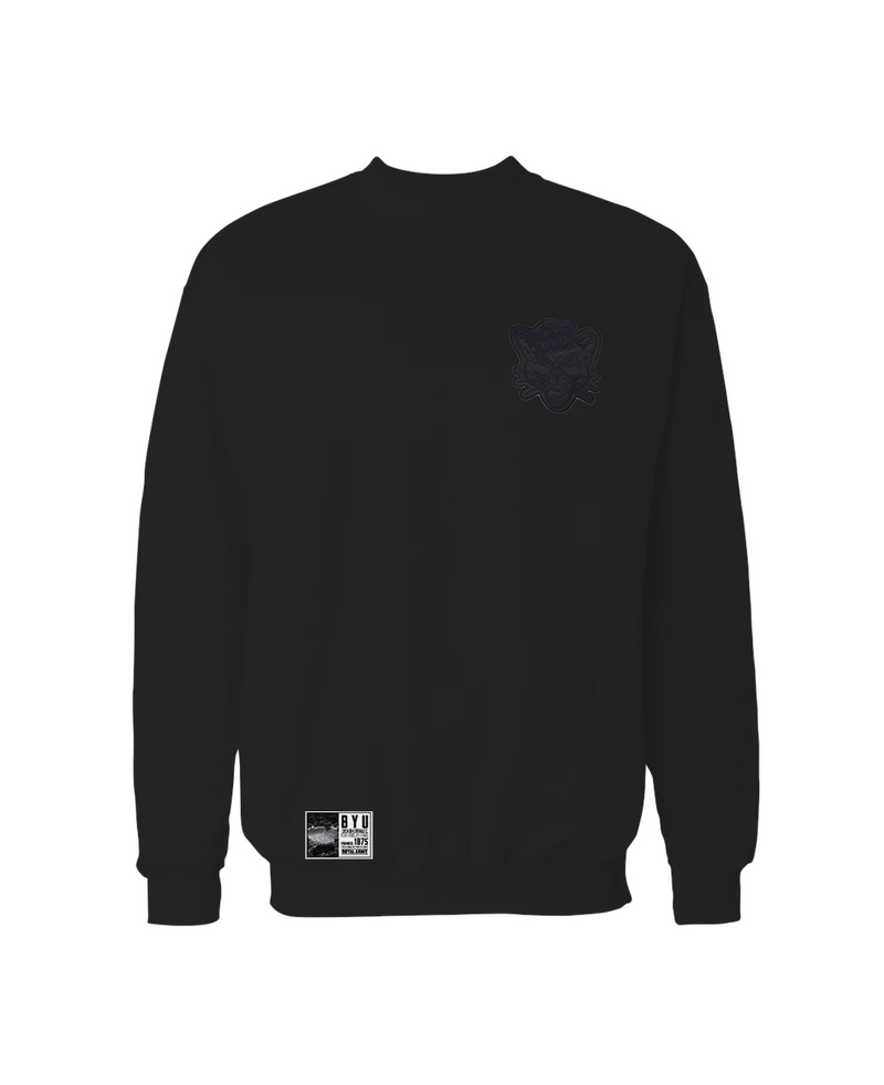 Black Crew Sweatshirt with Black Sailor Cougar Patch