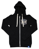 Black Tri-blend Fleece Full Zip Hoodie with BYU Sailor Cougar Chenille Patch
