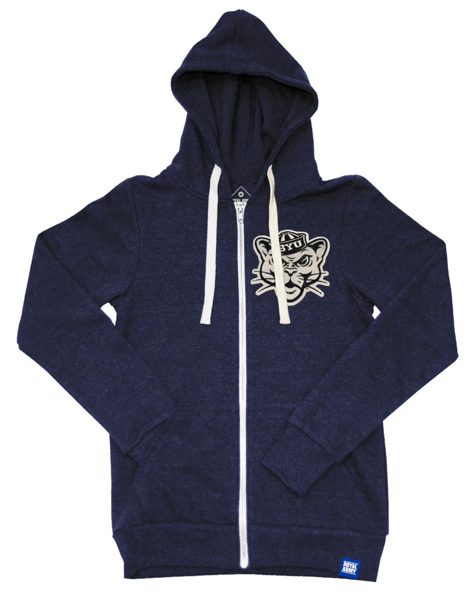 Heather Navy Tri-blend Fleece Full Zip Hoodie with BYU Sailor Cougar Tackle Twill Patch