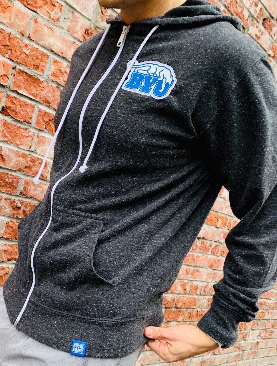 Full-Zip Lightweight Charcoal Hoodie with Custom BYU Beet Digger PVC Patch