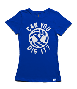 Women's Can You Dig It BYU Volleyball Shirt - Royal and White