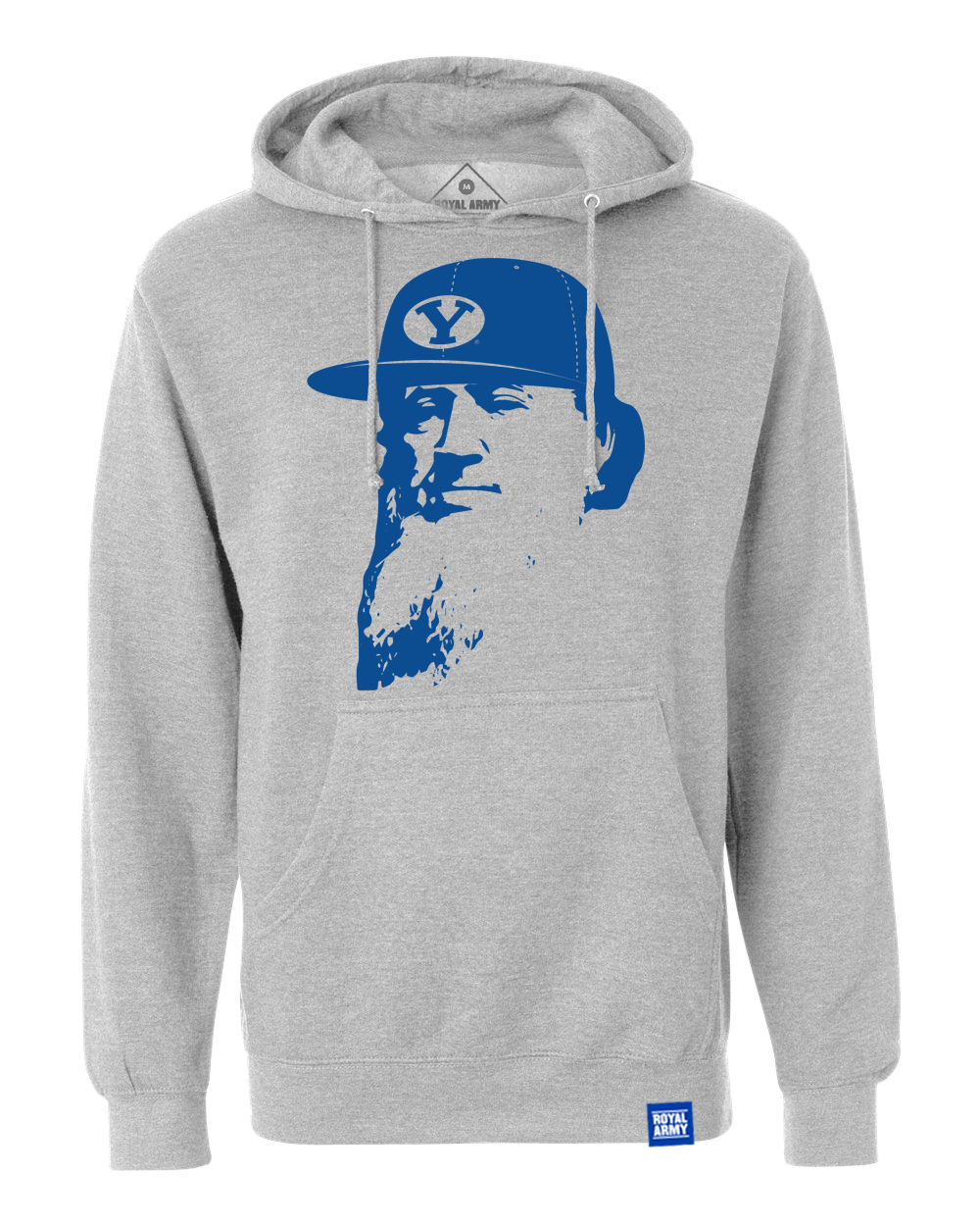 Flat Brim Brigham Gray with Royal Pullover Hoodie