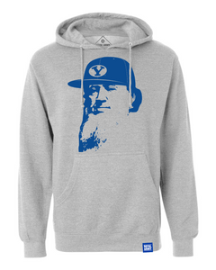 Flat Brim Brigham Pullover Hoodie - Gray and Royal