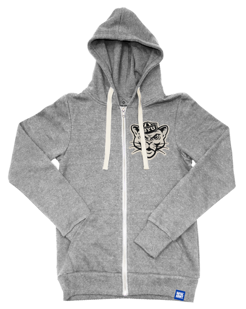 Heather Grey Tri-blend Fleece Full Zip Hoodie with BYU Sailor Cougar Tackle Twill Patch