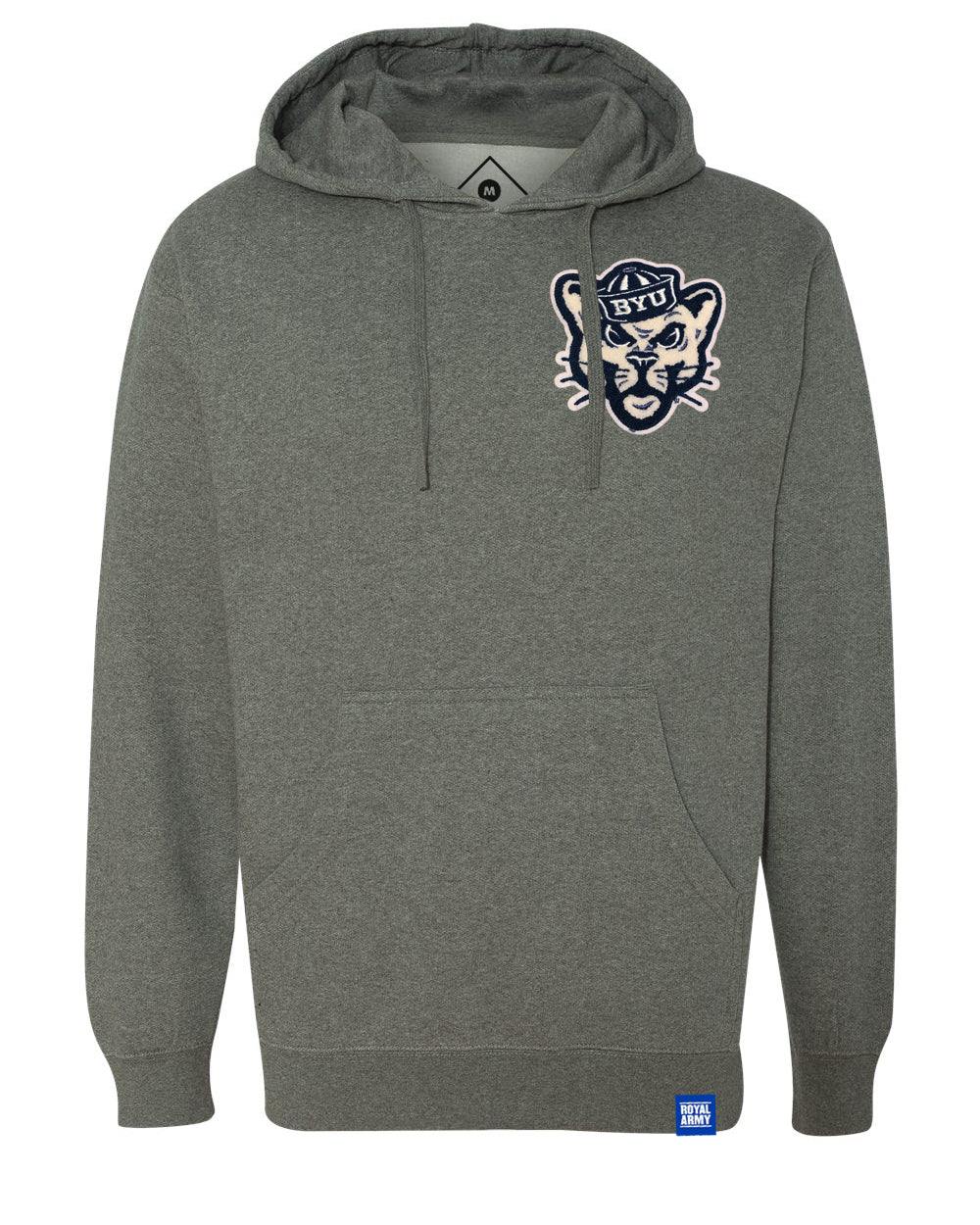 Gun Metal Grey Heather Fleece Hoodie with Chenille BYU Sailor Cougar Patch