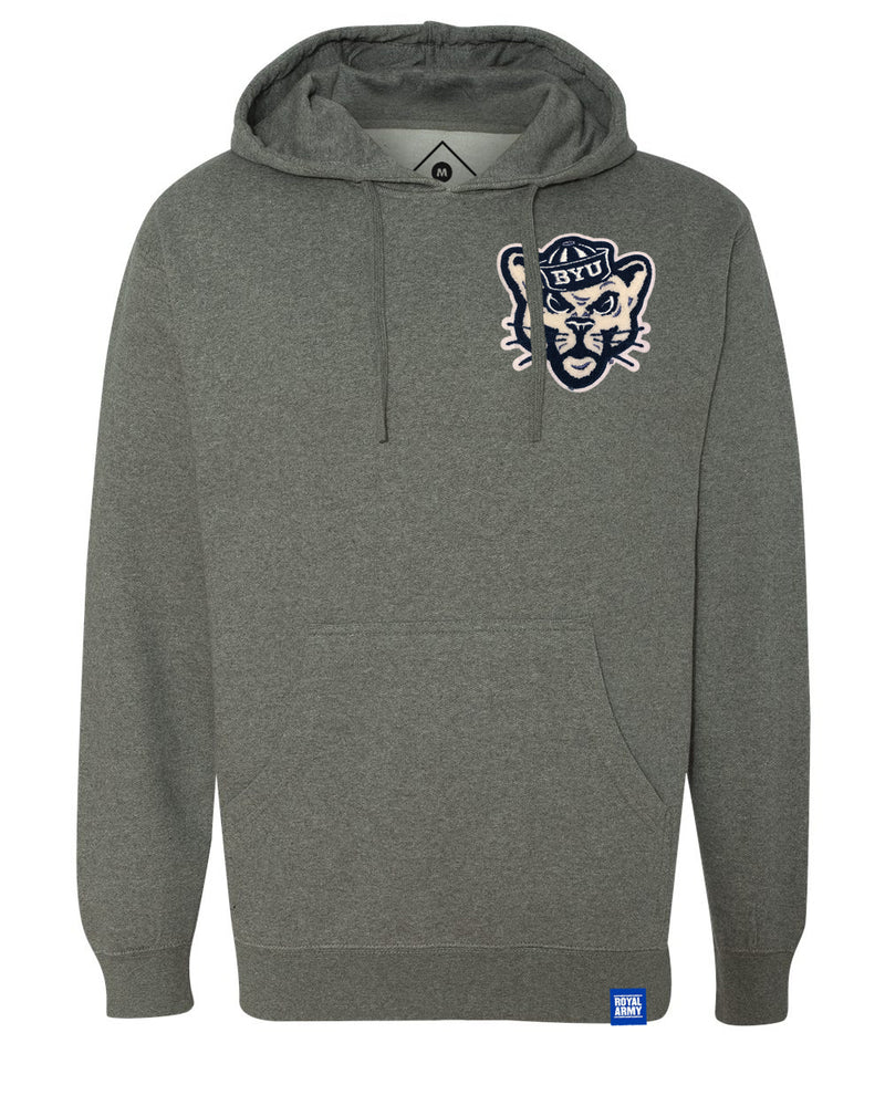 Fleece Hoodie Gun Metal Gray Heather with Chenille Sailor Cougar Patch