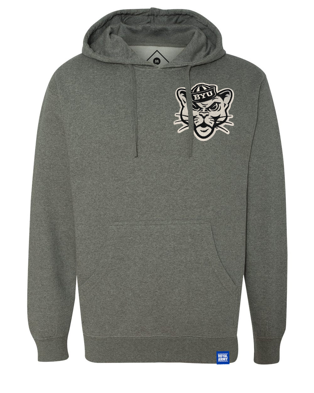 Gun Metal Grey Fleece Hoodie with Tackle Twill BYU Sailor Cougar Patch