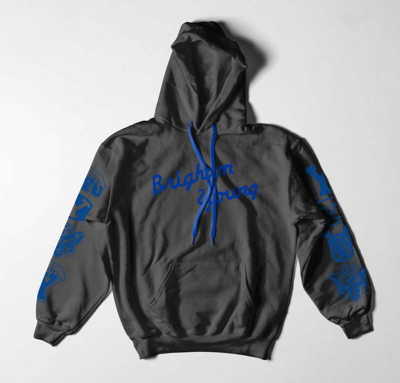 Royal on Black Heavyweight Logo Hoodie