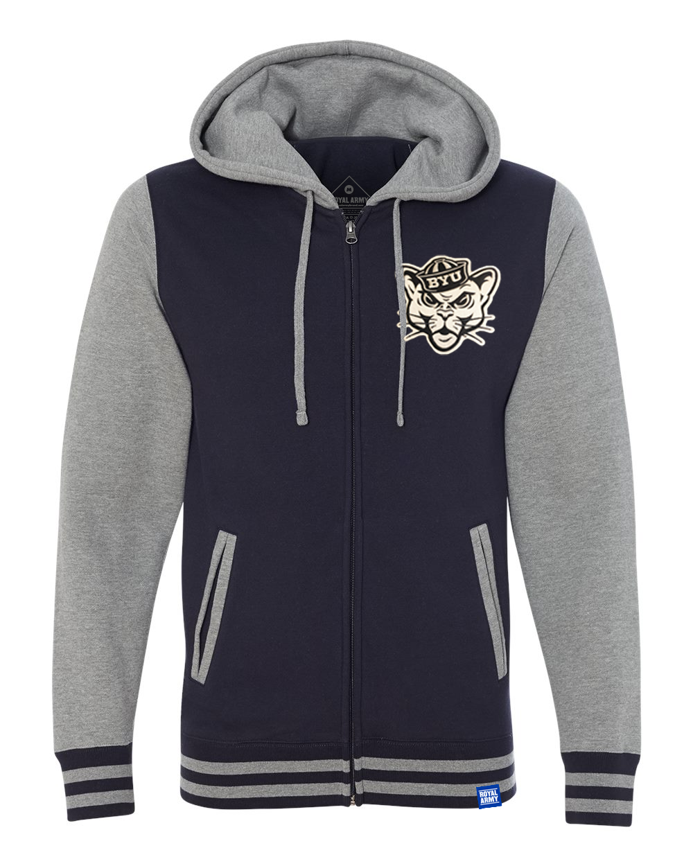 Varsity Hoodie Navy and Gray with Sailor Cougar Tackle Twill Patch