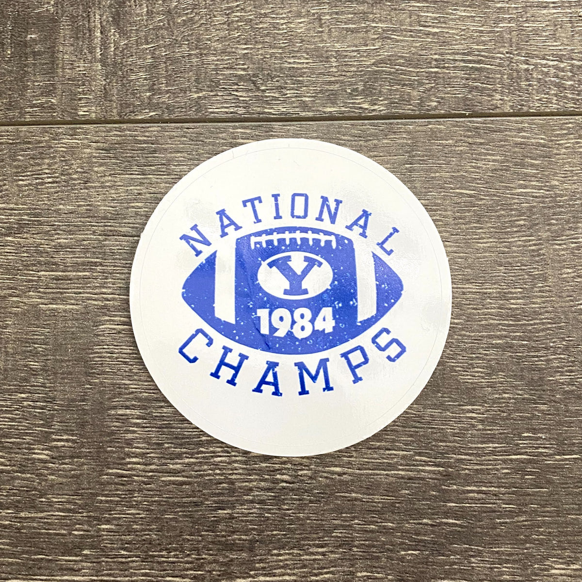 National Champs 3.5-inch White and Royal Vinyl Sticker
