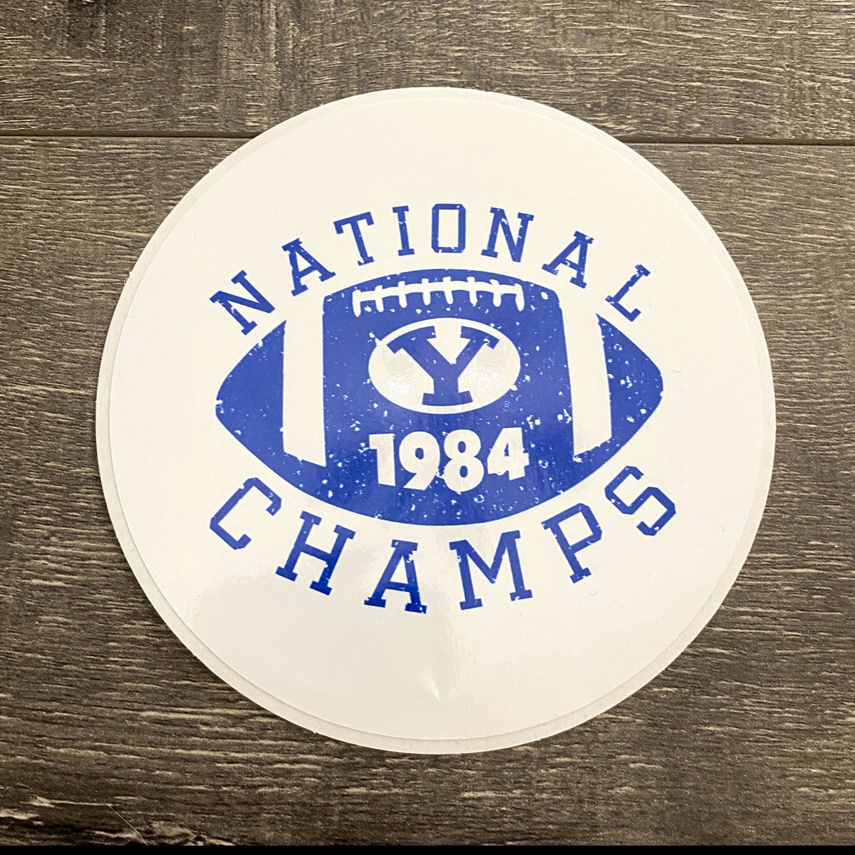 National Champs 5-inch White and Royal Vinyl Sticker