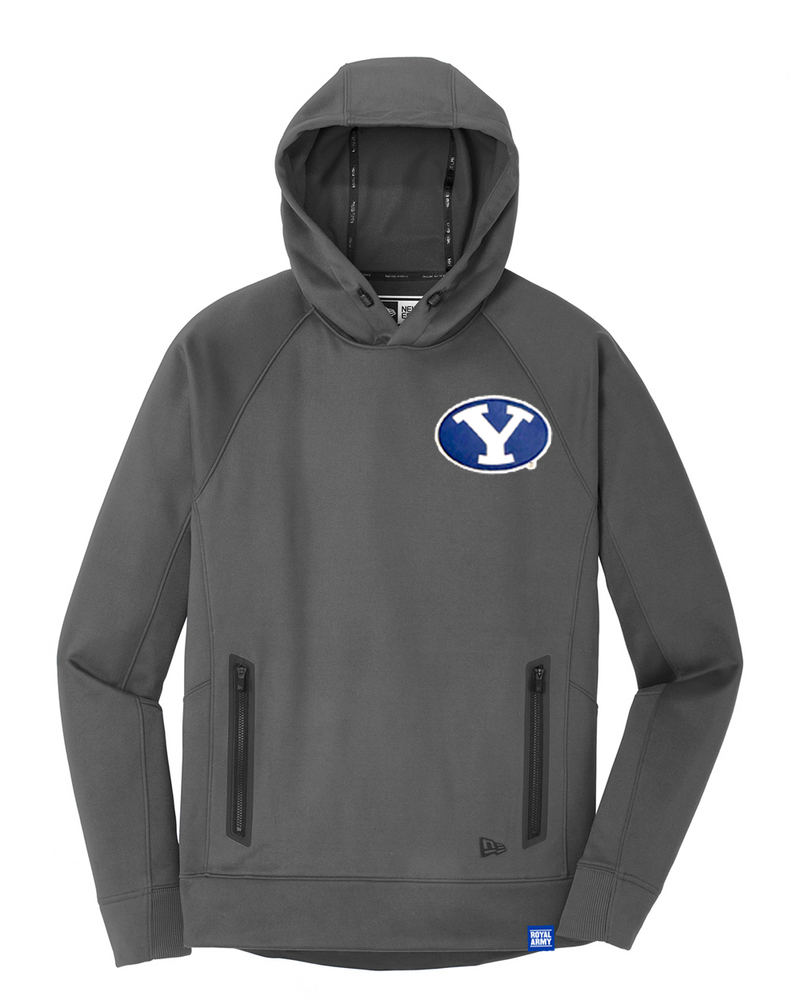 New Era Graphite Hoodie with Custom BYU Patch
