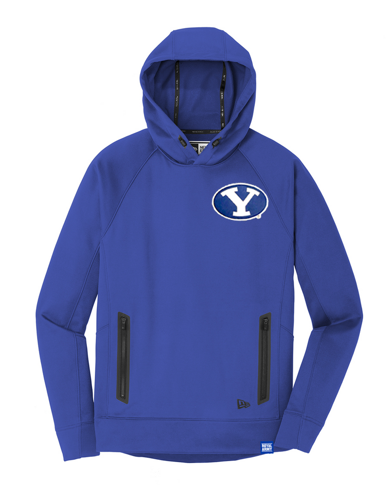 New Era Royal Blue Hoodie with Custom BYU Patch