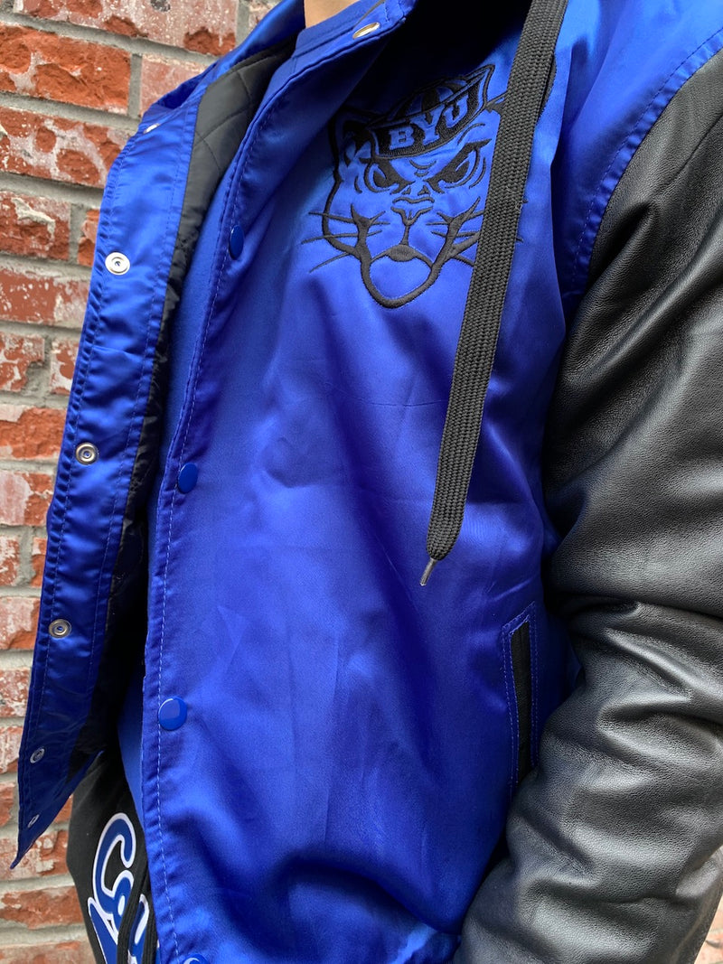 Satin BYU Bomber with Leather Sleeves