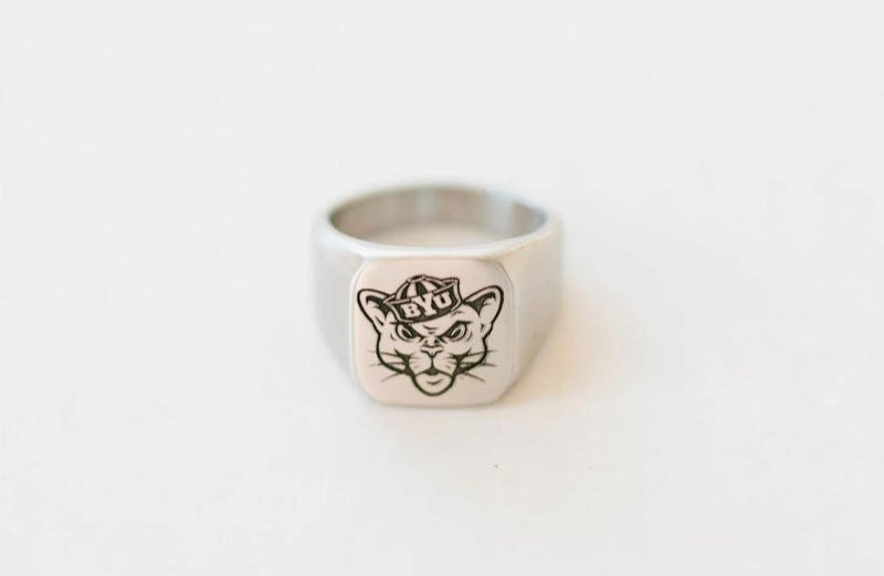 Custom BYU Sailor Cougar Engraved Surgical Steel Ring