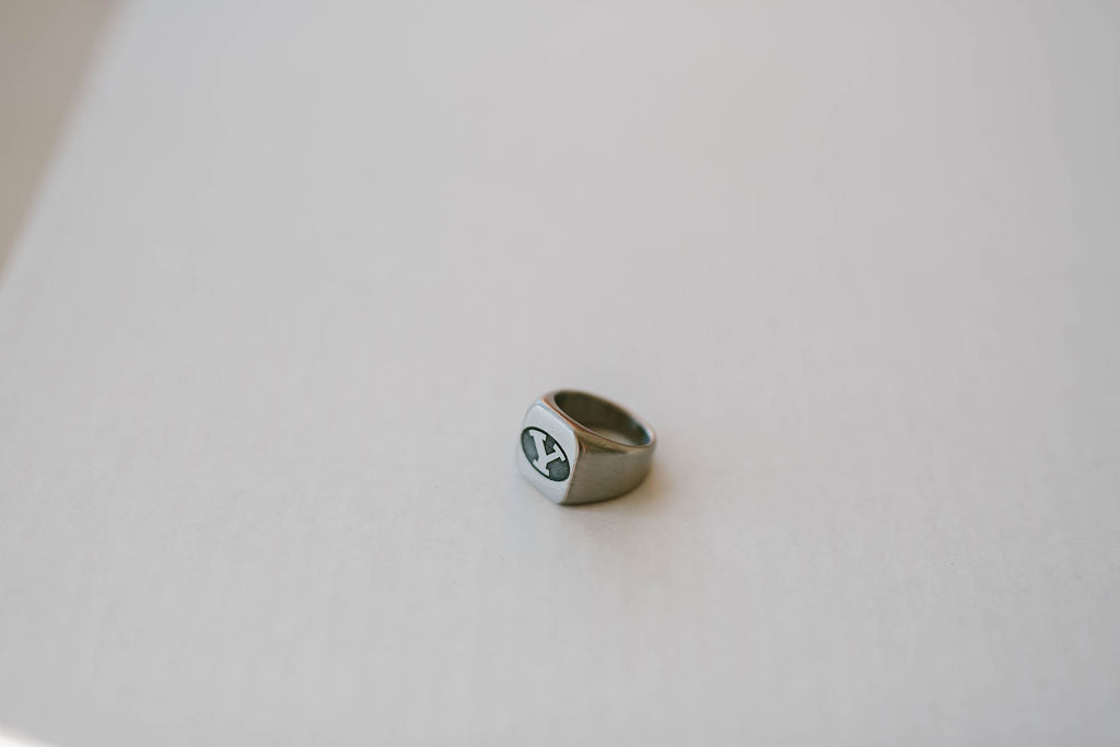Custom BYU Stretch Y Engraved Surgical Steel Ring
