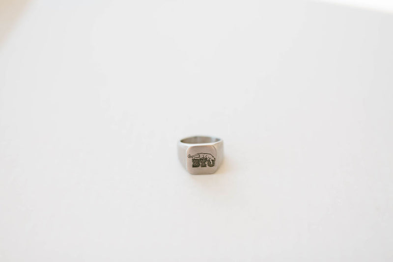 Custom BYU Beet Digger Engraved Surgical Steel Ring