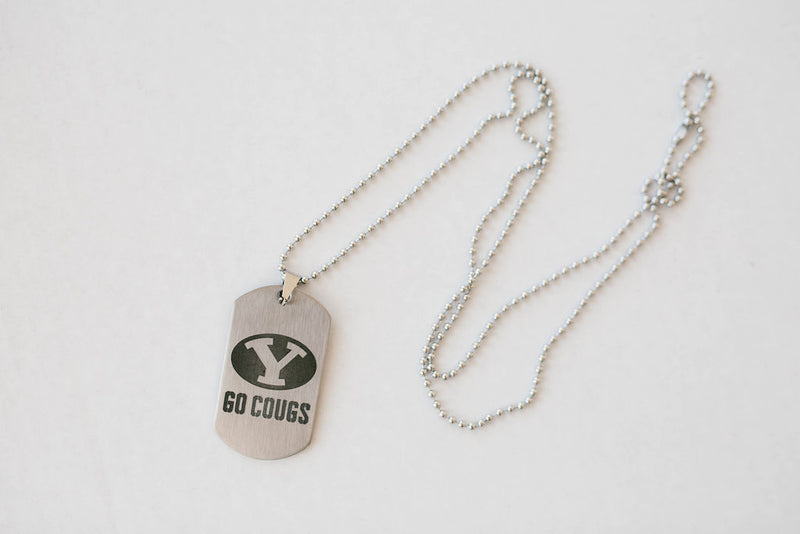 Engraved BYU Stretch Y and Go Cougs Stainless Steel Dog Tag